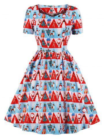 Christmas Print Sweetheart Neck Plus Size A Line Dress
