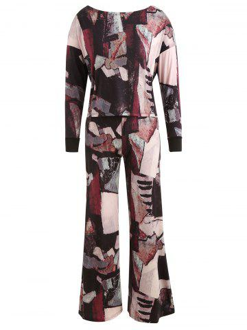 Abstract Print Top with Wide Leg Pants