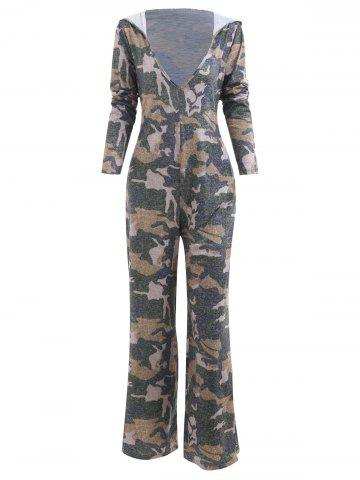 Hooded Low Cut Camouflage Print Jumpsuit