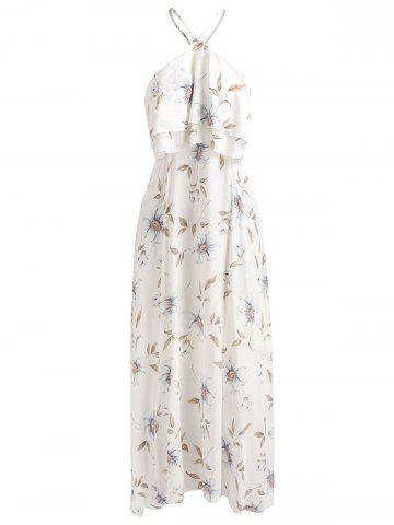Flounce Floral Print Cut Out Dress