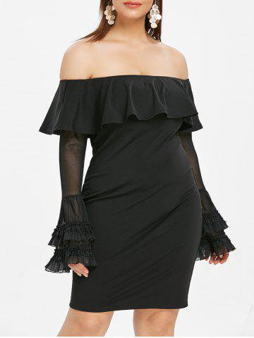 Flare Sleeve Plus Size Off The Shoulder Dress - BLACK - 4X