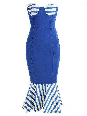 Nautical Strapless Flounce Bodycon Dress