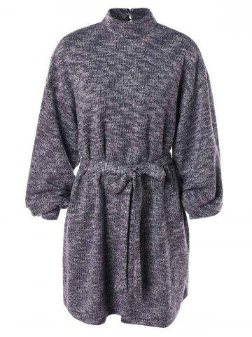 Keyhole Back Belted Sweater Dress