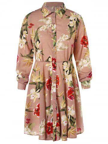 Floral Print High Waist Shirt Dress