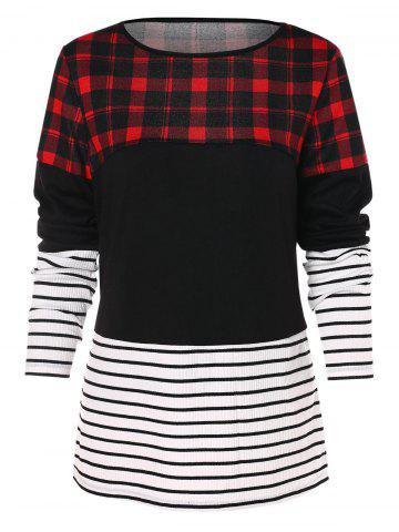 Plaid Stripe Long Sleeve T-shirt