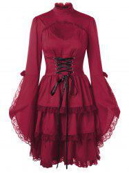 Flare Sleeve Cut Out Lace Trim Dress -