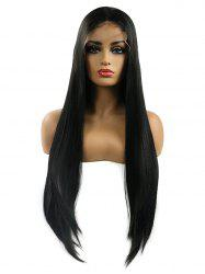 Middle Part Long Straight Party Synthetic Fiber Lace Front Wig -