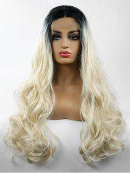Middle Part Long Colormix Wavy Party Lace Front Synthetic Wig -