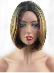 Short Side Parting Colormix Straight Bob Synthetic fiber Wig -
