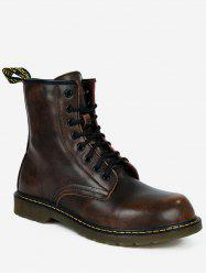 Lace Up PU Leather Vintage Boots -