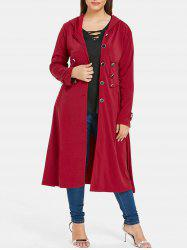 Plus Size Hooded Longline Coat -
