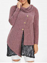 Plus Size Lace Panel Space Dyed Knitwear -