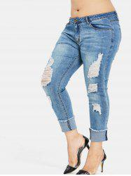 Plus Size Destroyed Cuffed Jeans -