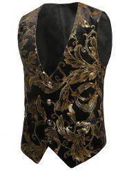 Hot Stamping Plant Print Slim Fit Shiny Waistcoat -