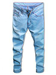 Graphic Print Destroyed Zip Fly Casual Jeans -