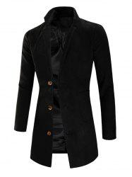 Lapel Collar Single Breasted Longline Coat -