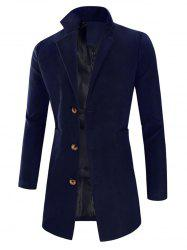 Manteau Long à Simple Boutonnage à Col Revers - Cadetblue L
