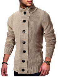 Stand Collar Button Fly Knitted Cardigan -