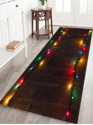 Wooden Christmas Light Printed Decorative Floor Mat -