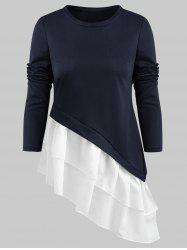 Flounced Hem Asymmetrical T Shirt -