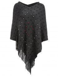 Faux Pearl Fringed Cape Sweater -