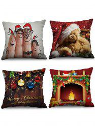 4PCS Christmas Bear Theme Printed Pillowcases -