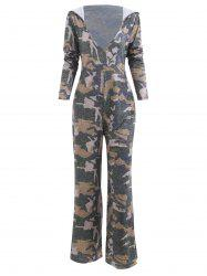 Hooded Low Cut Camouflage Print Jumpsuit -