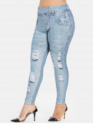 Plus Size High Waisted 3D Graphic Leggings -