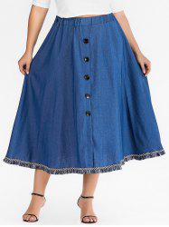 Plus Size Fringed Denim Skirt with Buttons -