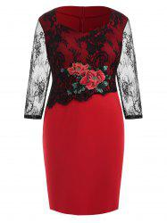 Plus Size Slit Embroidered Bodycon Dress with Lace -