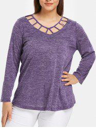 Space Dye Lattice Plus Size T-shirt -
