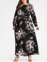 Plus Size Floral Long Dress with Belt -