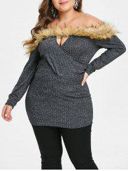 Plus Size Faux Fur Panel Off Shoulder Knitwear -