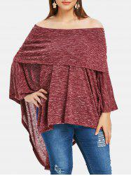 Plus Size Off Shoulder Asymmetrical Marled T-shirt -