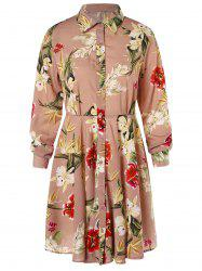 Floral Print High Waist Shirt Dress -