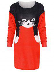 Christmas Cat Print Tunic Knit Top -