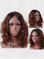 Short Center Parting Colormix Curly Synthetic Wig -