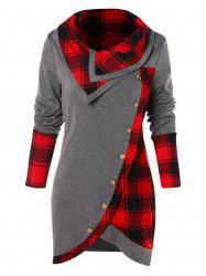 Tartan Panel Long Sleeve Asymmetrical T-shirt -