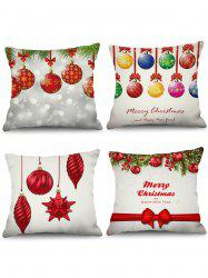 4PCS Merry Christmas Ball Printed Pillowcases -