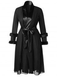 Plus Size Faux Fur Sleeves Belted Longline Wrap Coat -