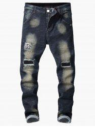 Vintage Ripped Hole Patchwork Paint Jeans -