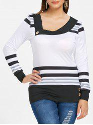 Plus Size Stripe Skew Neck Tee -