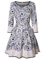 Vintage Floral Print Mini Flared Dress -