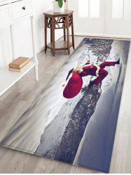 Running Father Christmas Printed Floor Mat -