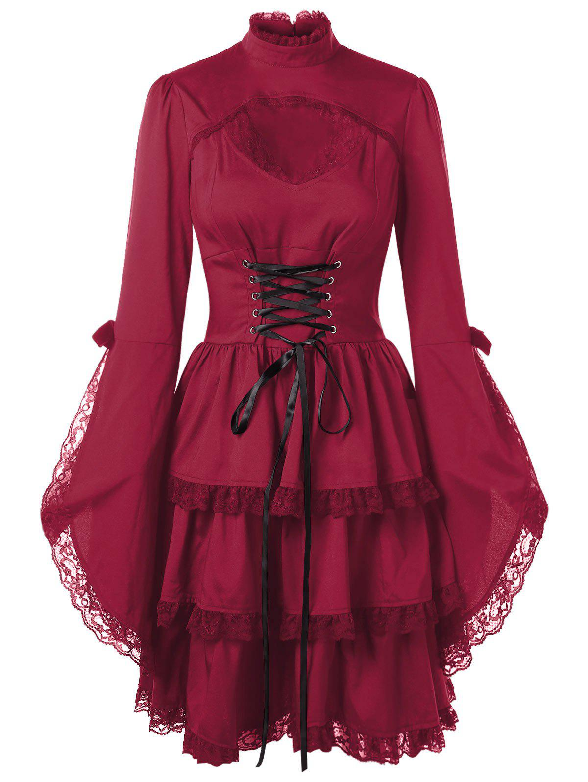 Latest Flare Sleeve Cut Out Lace Trim Dress