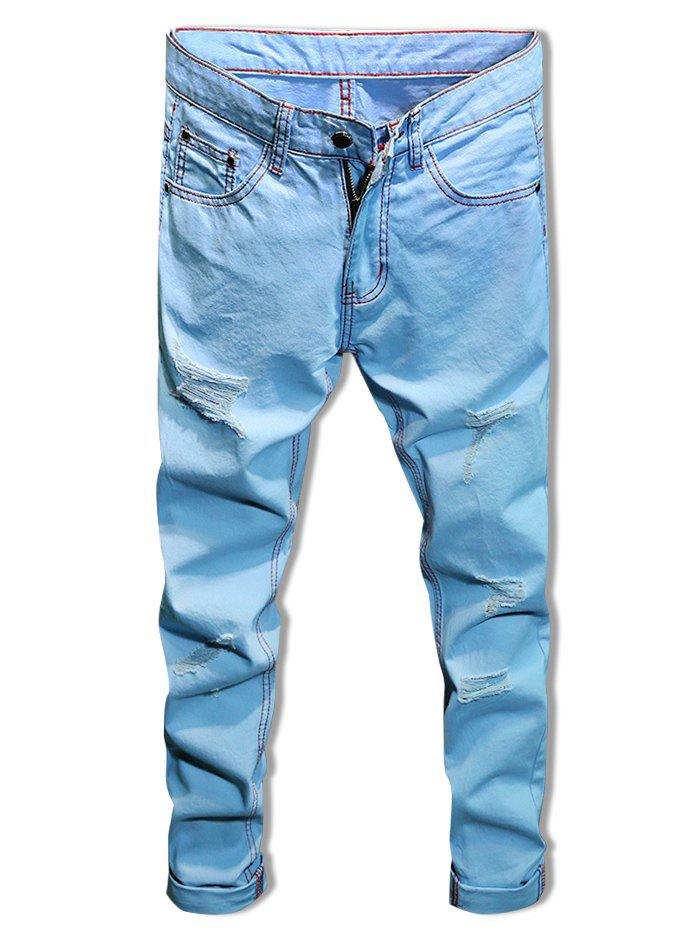 Sale Graphic Print Destroyed Zip Fly Casual Jeans