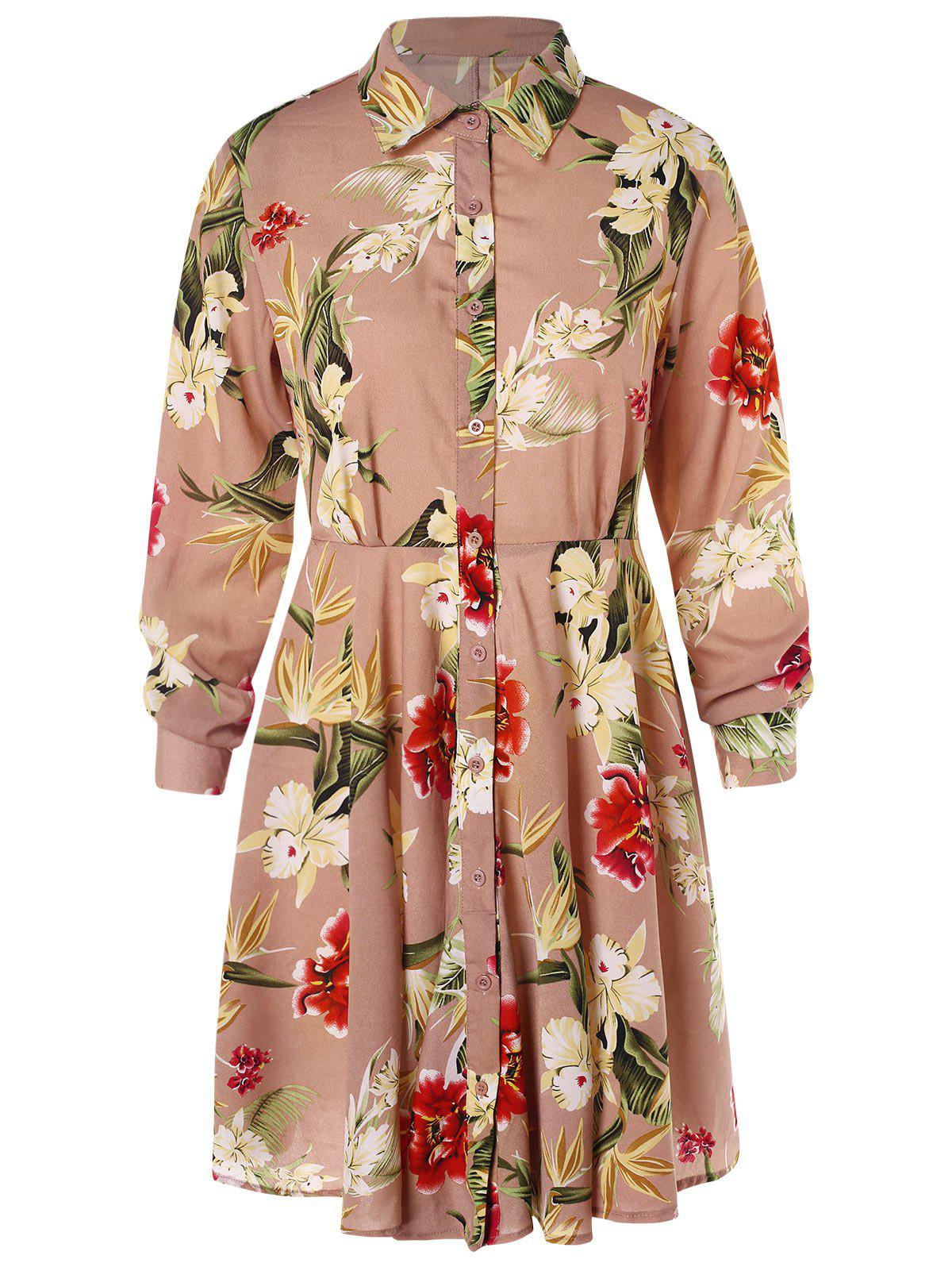 Sale Floral Print High Waist Shirt Dress