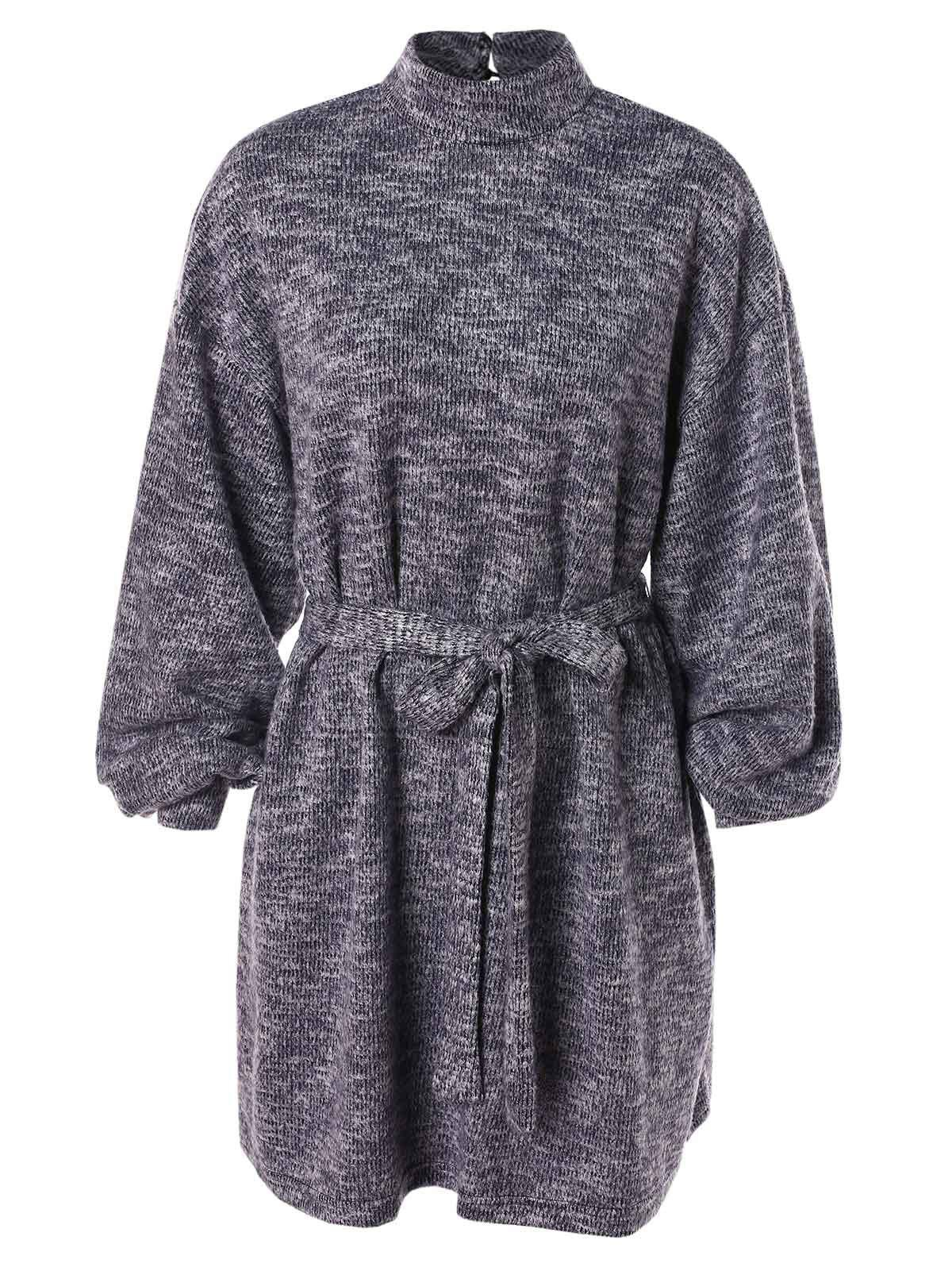 Latest Keyhole Back Belted Sweater Dress