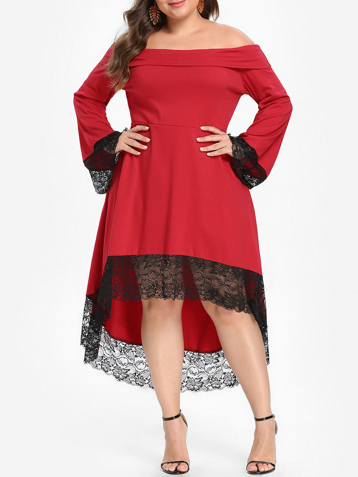 Plus Size Off Shoulder Lace Insert Dress, Red