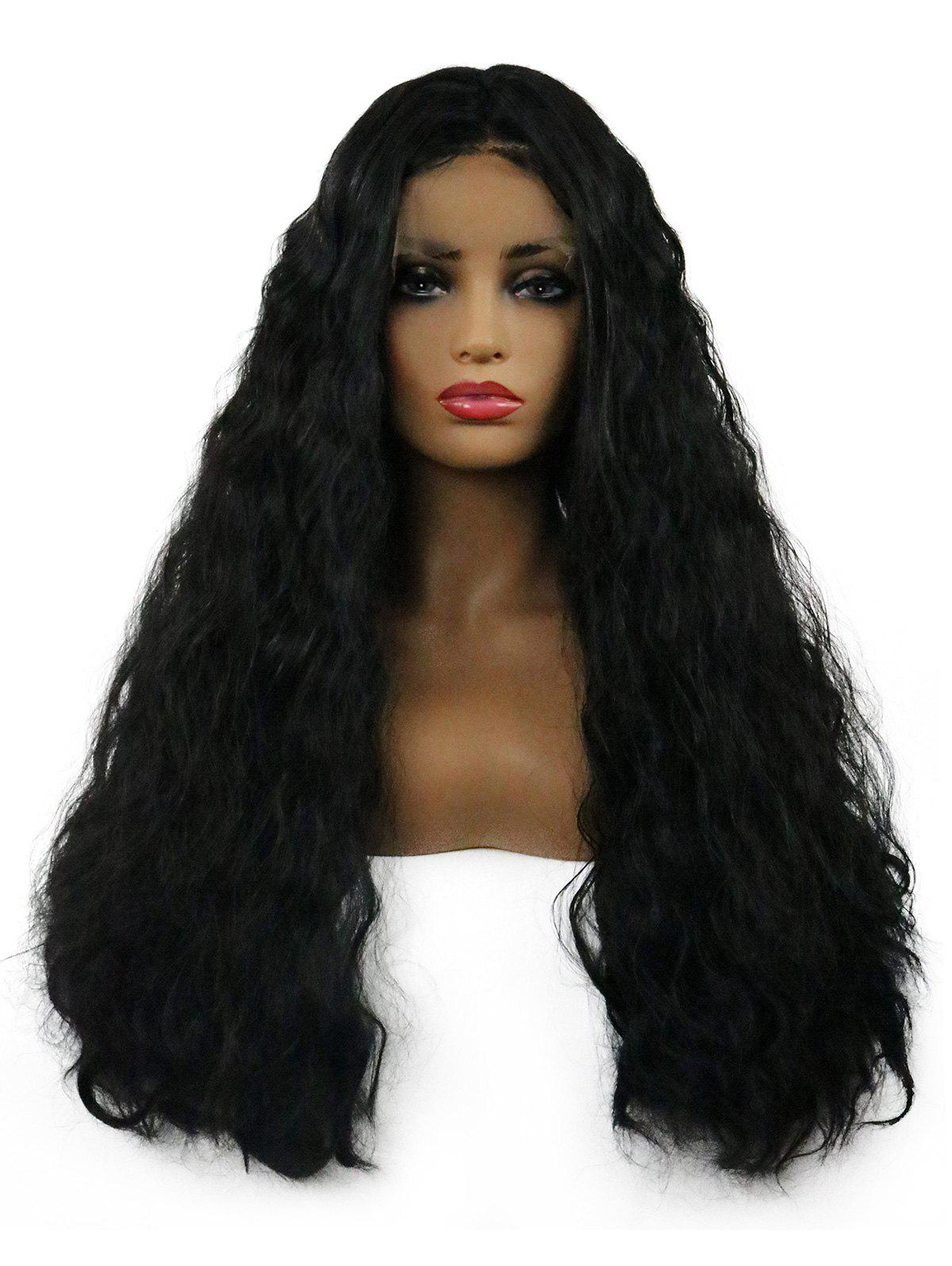 Trendy Long Middle Part Corn Hot Wavy Lace Front Synthetic Wig